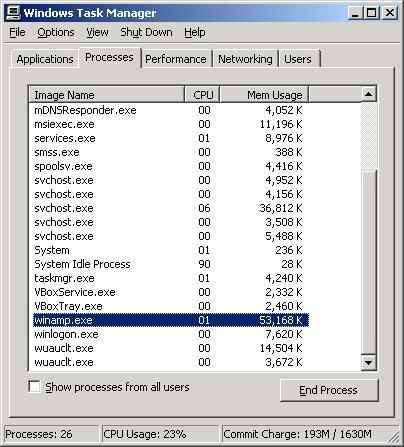 Winamp 5 memory consumption