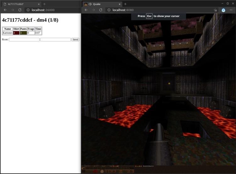 WebQuake server and client running screenshot
