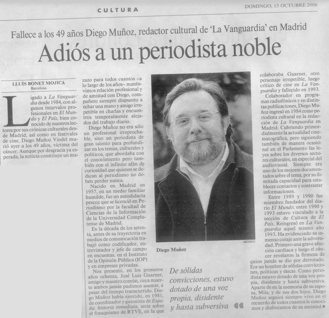 Obituary at La Vanguardia