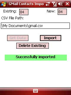 Gmail contacts importer screenshot