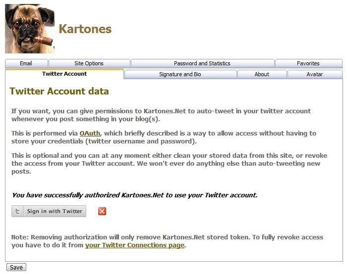 Kartones.Net profile settings