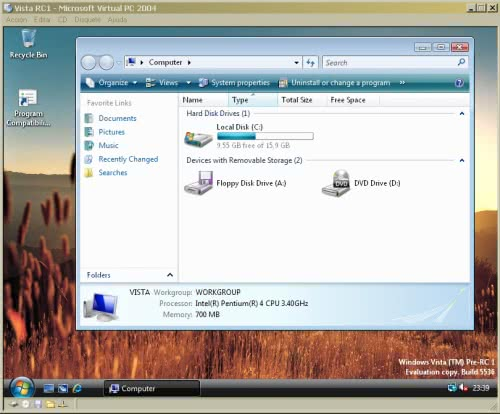 Windows Vista RC1 under Virtual PC 2004