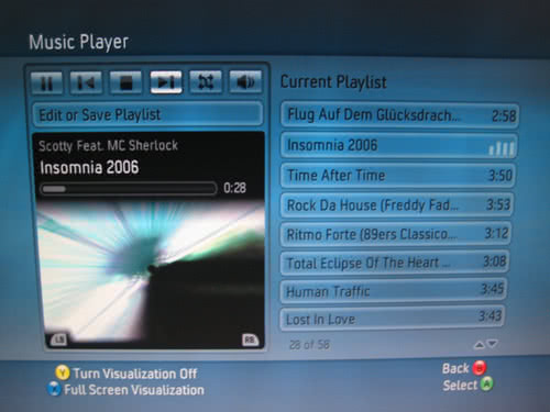 The Xbox 360 playing music